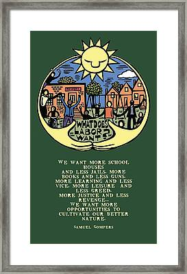 What Does Labor Want? Framed Print by Ricardo Levins Morales