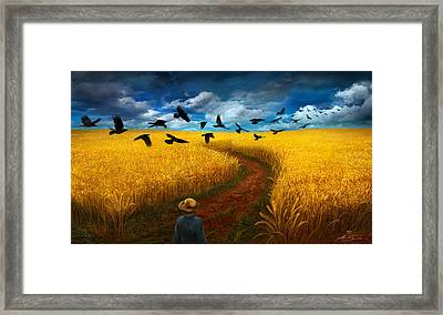 Wheatfield With Crows Framed Print by Alex Ruiz