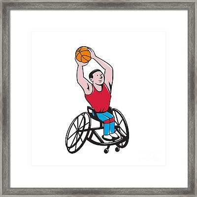 Wheelchair Basketball Player Shooting Ball Cartoon Framed Print by Aloysius Patrimonio