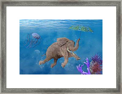 When Elephants Swim Framed Print by Betsy Knapp