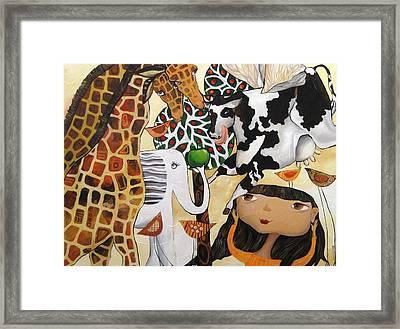 When Giraffes Were Big Framed Print by Yelena Revis