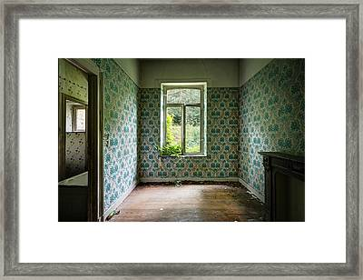 When Nature Takes Over  Vintage Wallpaper- Urban Exploration Framed Print by Dirk Ercken