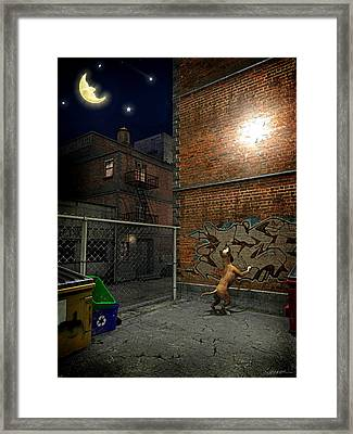 Man In The Moon Framed Print featuring the digital art When Stars Fall In The City by Cynthia Decker