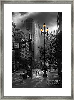 When The Lights Go Down In San Francisco 5d20609 Bw Framed Print by Wingsdomain Art and Photography