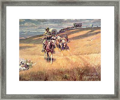 When Wagon Trails Were Dim Framed Print by Charles Marion Russell