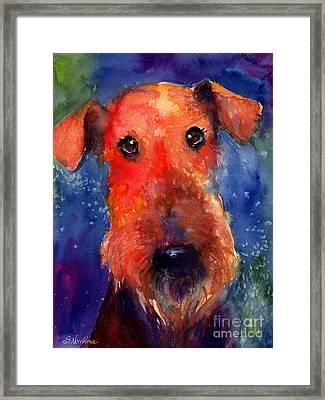 Whimsical Airedale Dog Painting Framed Print by Svetlana Novikova