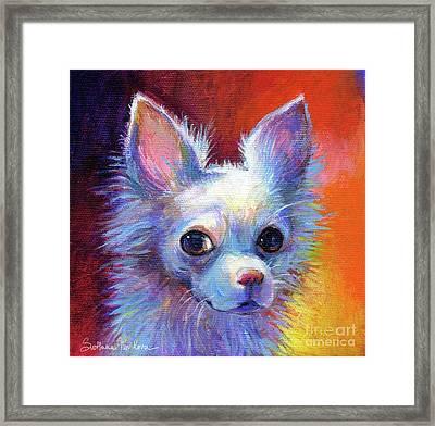 Whimsical Chihuahua Dog Painting Framed Print by Svetlana Novikova