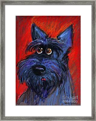 whimsical Schnauzer dog painting Framed Print by Svetlana Novikova