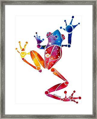 Whimzical Crazy Tree Frog 1 Framed Print by Jo Lynch