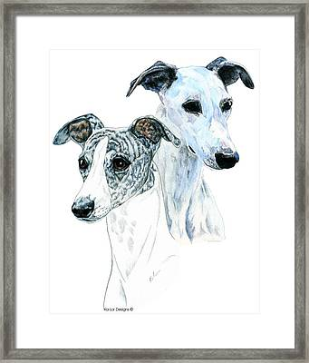 Whippet Pair Framed Print by Kathleen Sepulveda