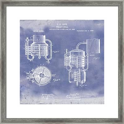 Whiskey Still 1906 In Blue Grunge Framed Print by Bill Cannon