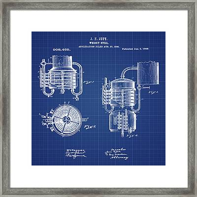 Whiskey Still 1906 In Blue Print Framed Print by Bill Cannon