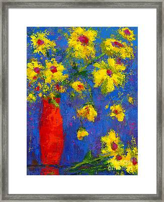 Abstract Floral Art, Modern Impressionist Painting - Palette Knife Work Framed Print by Patricia Awapara