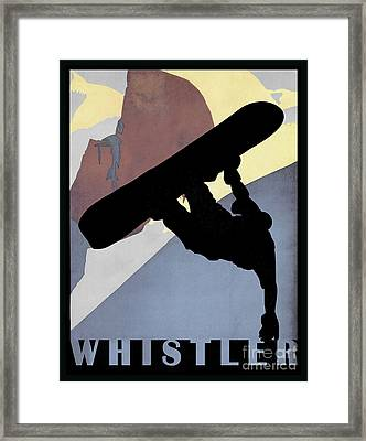Whistler Blackcomb Winter Sport Snowboarding Dude Framed Print by Tina Lavoie