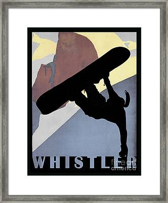Whistler Mountain Snowboarding Betty, Winter Sport Framed Print by Tina Lavoie