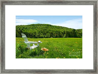 White Adirondack Chair In A Field Of Tall Grass Framed Print by Sandra Cunningham