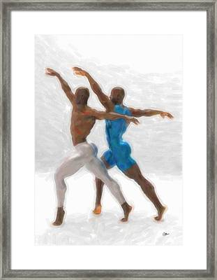 White And Blue Dancers Framed Print by Quim Abella