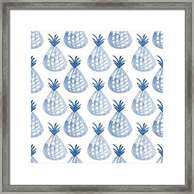 White And Blue Pineapple Party Framed Print by Linda Woods