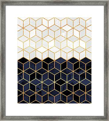White And Navy Cubes Framed Print by Elisabeth Fredriksson