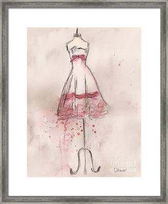 White And Pink Party Dress Framed Print by Lauren Maurer
