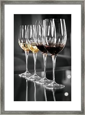 White And Red Wine Glasses Framed Print by Edward Duckitt