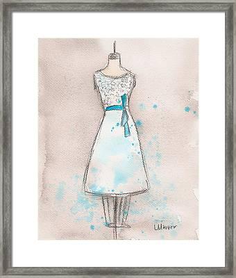 White And Teal Dress Framed Print by Lauren Maurer