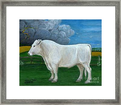 White Bull Framed Print by Anna Folkartanna Maciejewska-Dyba