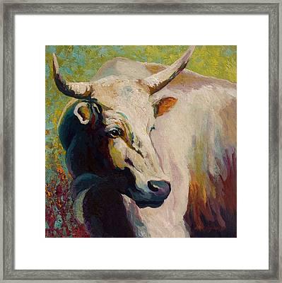 White Bull Portrait Framed Print by Marion Rose
