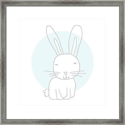 White Bunny On Blue- Art By Linda Woods Framed Print by Linda Woods