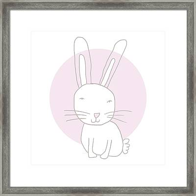 White Bunny On Pink- Art By Linda Woods Framed Print by Linda Woods