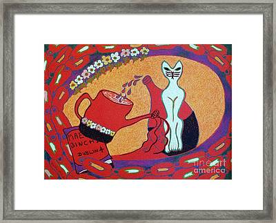 White Cat With Watering Can Framed Print by Heather McFarlane-Watson
