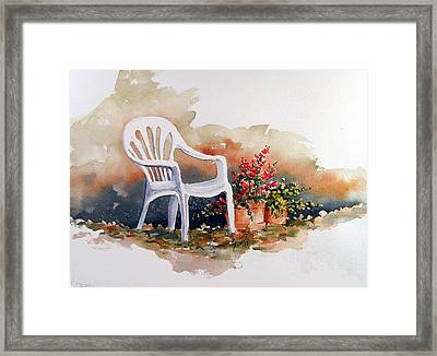 White Chair With Flower Pots Framed Print by Sam Sidders