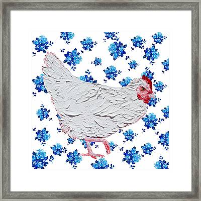 White Chicken On Blue Rose Background Framed Print by Jan Matson