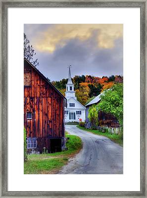 White Church And Barn In Autumn - Vermont Framed Print by Joann Vitali