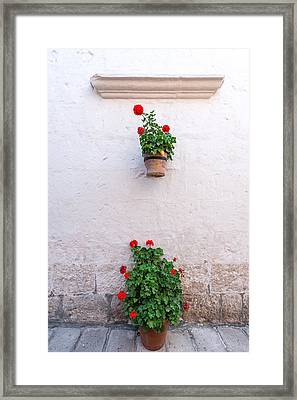 White Colonial Wall And Flowers Framed Print by Jess Kraft