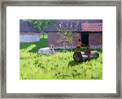 White Cow And Two Children Framed Print by Andrew Macara