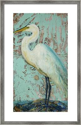 White Crane Framed Print by Billie Colson