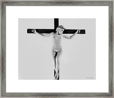 White Crucifix I Framed Print by Ramon Martinez