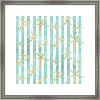 White Finger Starfish Watercolor Stripe Pattern Framed Print by Audrey Jeanne Roberts