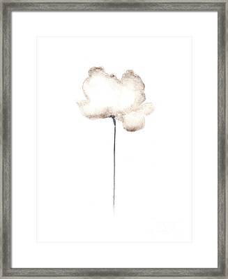 White Flower Minimalist Painting Framed Print by Joanna Szmerdt