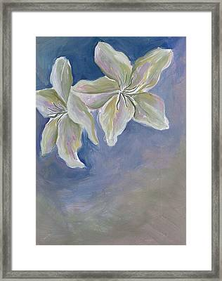 White Flowers Framed Print by Cherie Sexsmith