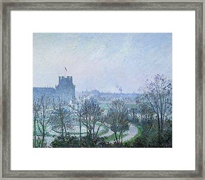 White Frost Jardin Des Tuileries Framed Print by Camille Pissarro
