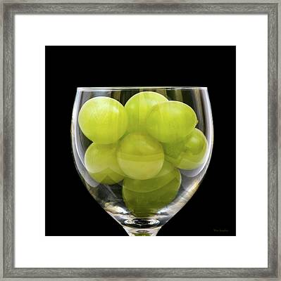 White Grapes In Glass Framed Print by Wim Lanclus