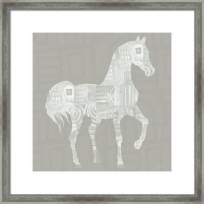 White Horse 1- Art By Linda Woods Framed Print by Linda Woods