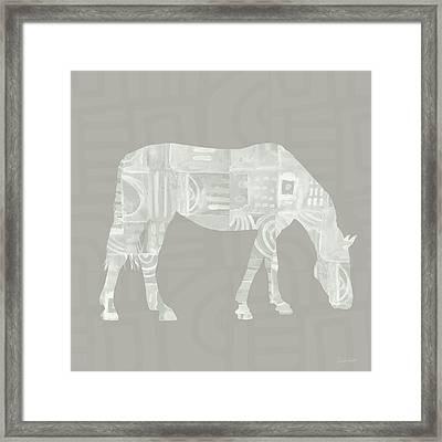White Horse 2- Art By Linda Woods Framed Print by Linda Woods