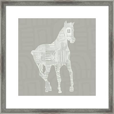 White Horse 3- Art By Linda Woods Framed Print by Linda Woods