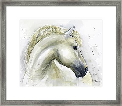 White Horse Watercolor Framed Print by Olga Shvartsur