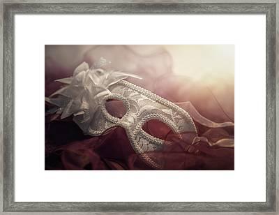 White Mask Framed Print by Cindy Grundsten