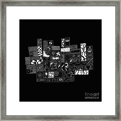 White On Black Abstract Art Framed Print by Caffrey Fielding