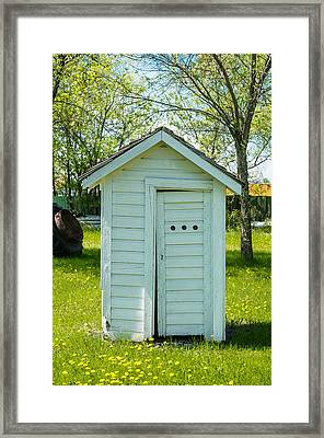 White Outhouse And Wild Flowers Framed Print by Donald  Erickson